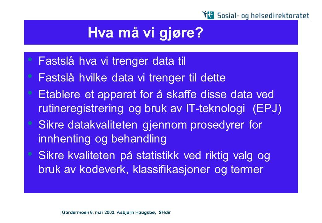   Gardermoen 6. mai 2003. Asbjørn Haugsbø, SHdir Hva må vi gjøre? Fastslå hva vi trenger data til Fastslå hvilke data vi trenger til dette Etablere et