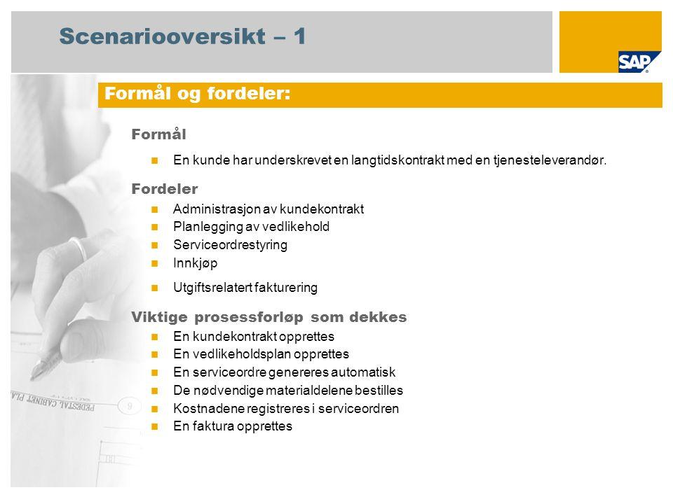 Scenariooversikt – 1 Formål En kunde har underskrevet en langtidskontrakt med en tjenesteleverandør.