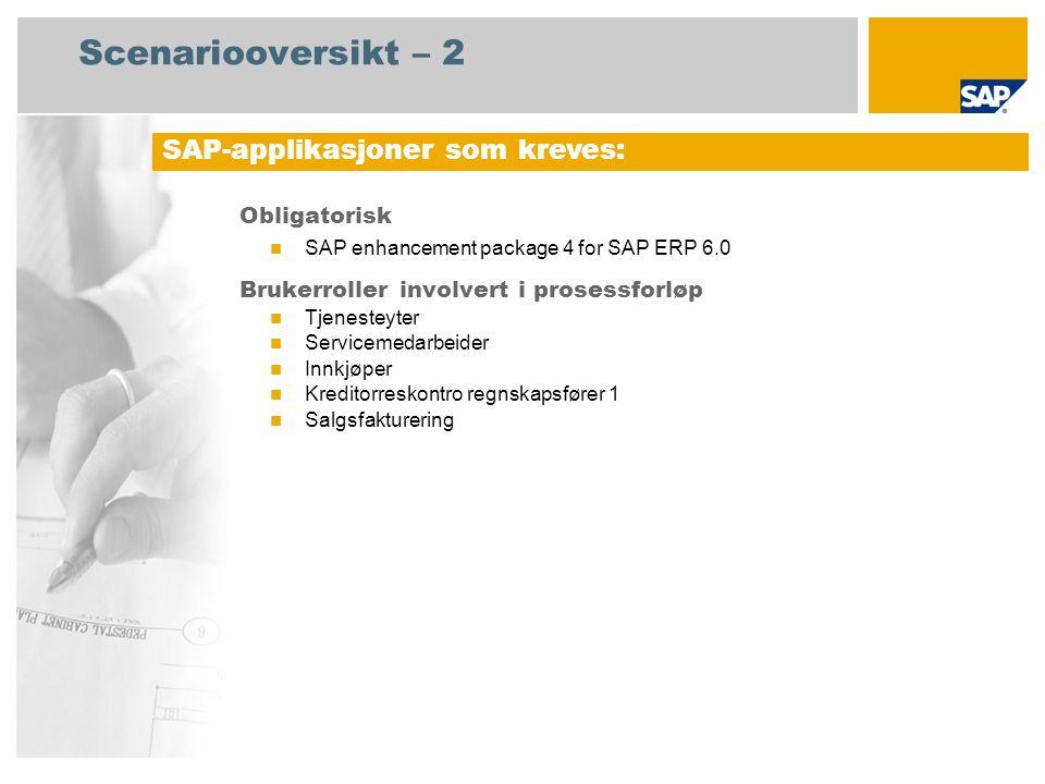 Scenariooversikt – 2 Obligatorisk SAP enhancement package 4 for SAP ERP 6.0 Brukerroller involvert i prosessforløp Tjenesteyter Servicemedarbeider Innkjøper Kreditorreskontro regnskapsfører 1 Salgsfakturering SAP-applikasjoner som kreves: