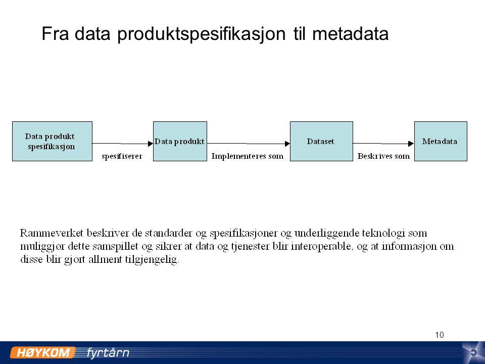 10 Fra data produktspesifikasjon til metadata