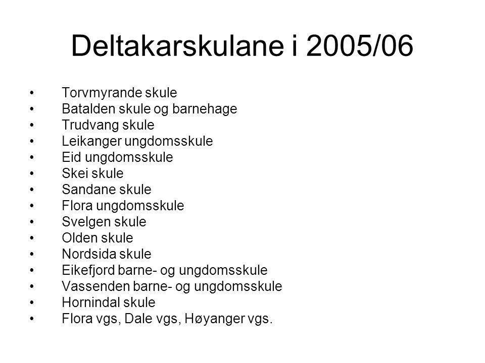Deltakarskulane i 2005/06 Torvmyrande skule Batalden skule og barnehage Trudvang skule Leikanger ungdomsskule Eid ungdomsskule Skei skule Sandane skule Flora ungdomsskule Svelgen skule Olden skule Nordsida skule Eikefjord barne- og ungdomsskule Vassenden barne- og ungdomsskule Hornindal skule Flora vgs, Dale vgs, Høyanger vgs.