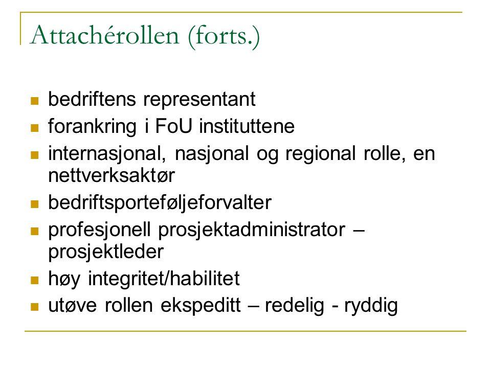 Attachérollen (forts.) bedriftens representant forankring i FoU instituttene internasjonal, nasjonal og regional rolle, en nettverksaktør bedriftsport