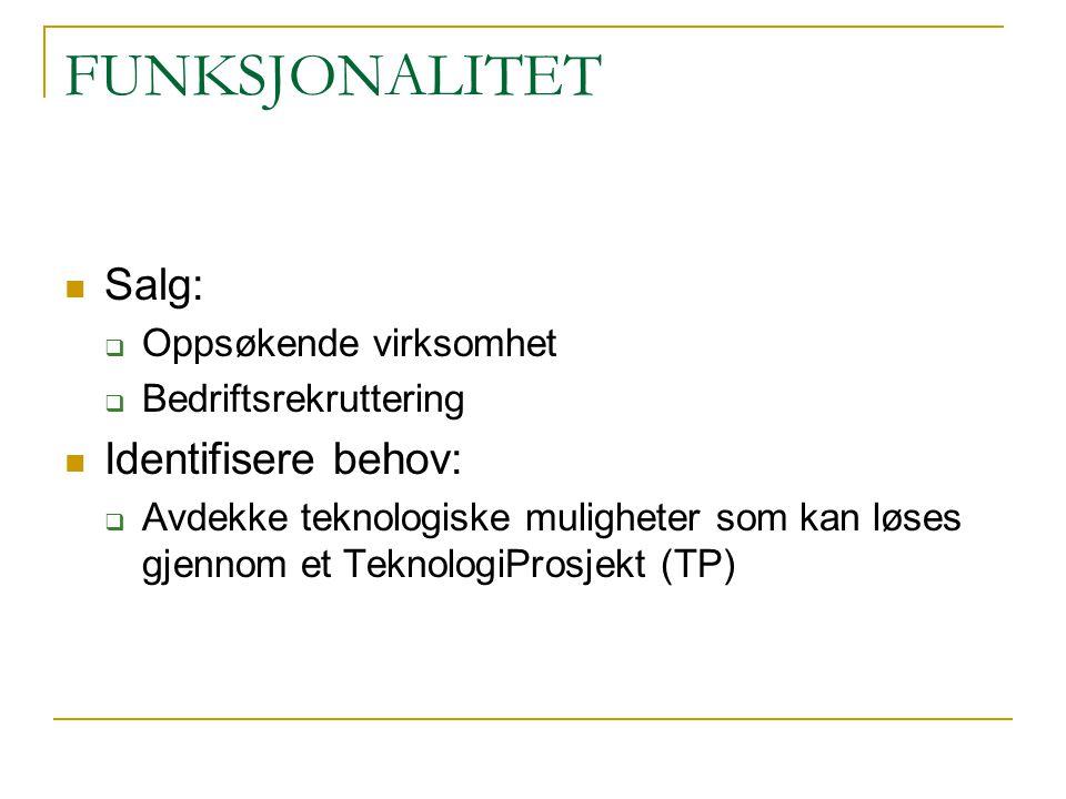 FUNKSJONALITET Salg:  Oppsøkende virksomhet  Bedriftsrekruttering Identifisere behov:  Avdekke teknologiske muligheter som kan løses gjennom et TeknologiProsjekt (TP)