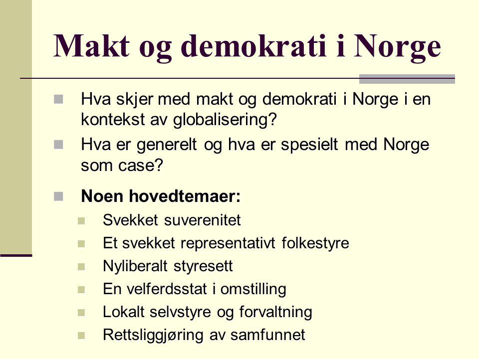 Makt og demokrati i Norge Hva skjer med makt og demokrati i Norge i en kontekst av globalisering? Hva skjer med makt og demokrati i Norge i en konteks