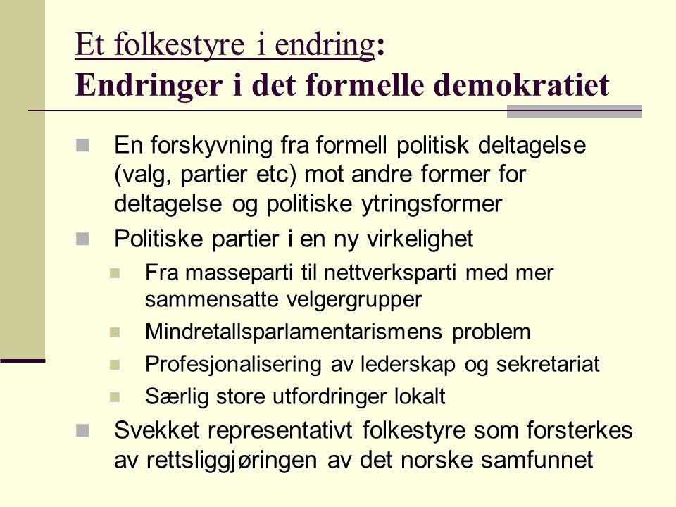 Et folkestyre i endring: Endringer i det formelle demokratiet En forskyvning fra formell politisk deltagelse (valg, partier etc) mot andre former for