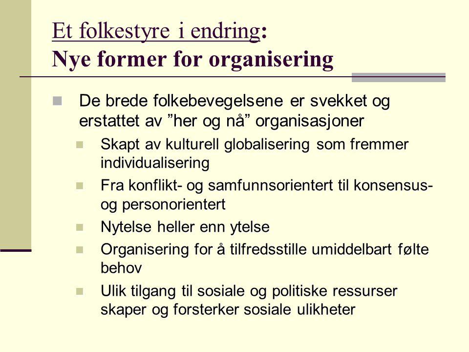 """Et folkestyre i endring: Nye former for organisering De brede folkebevegelsene er svekket og erstattet av """"her og nå"""" organisasjoner De brede folkebev"""