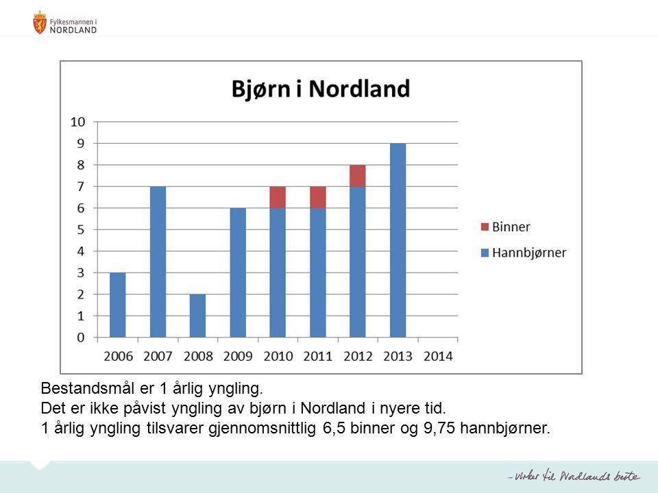 Bestandsmål er 1 årlig yngling. Det er ikke påvist yngling av bjørn i Nordland i nyere tid.