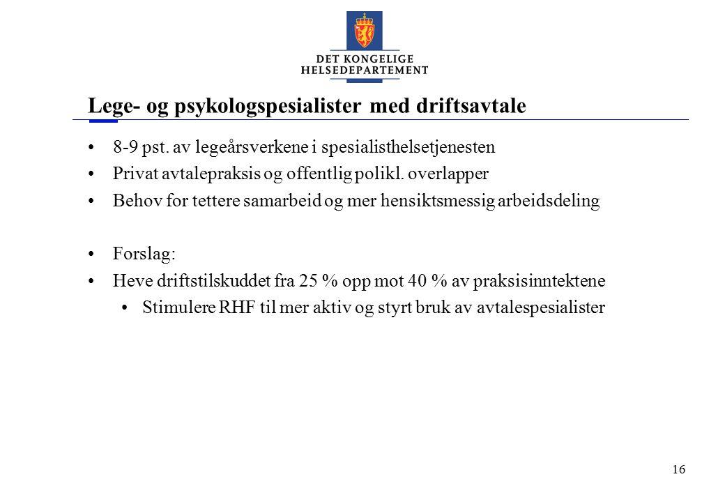 16 Lege- og psykologspesialister med driftsavtale 8-9 pst. av legeårsverkene i spesialisthelsetjenesten Privat avtalepraksis og offentlig polikl. over