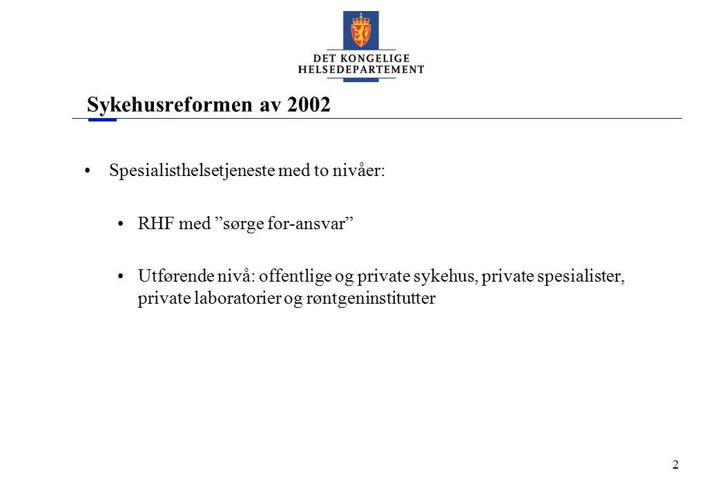 """2 Sykehusreformen av 2002 Spesialisthelsetjeneste med to nivåer: RHF med """"sørge for-ansvar"""" Utførende nivå: offentlige og private sykehus, private spe"""
