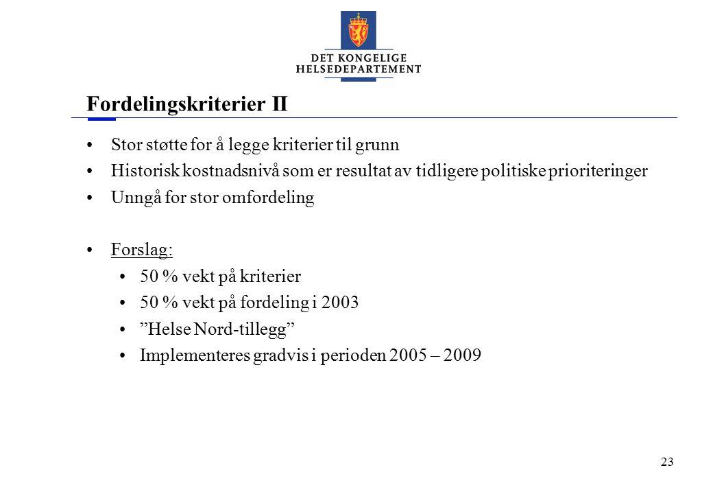 23 Fordelingskriterier II Stor støtte for å legge kriterier til grunn Historisk kostnadsnivå som er resultat av tidligere politiske prioriteringer Unn
