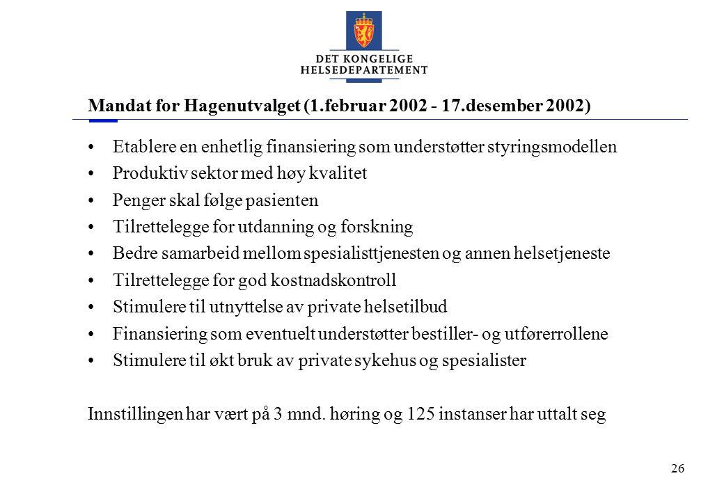 26 Mandat for Hagenutvalget (1.februar 2002 - 17.desember 2002) Etablere en enhetlig finansiering som understøtter styringsmodellen Produktiv sektor m