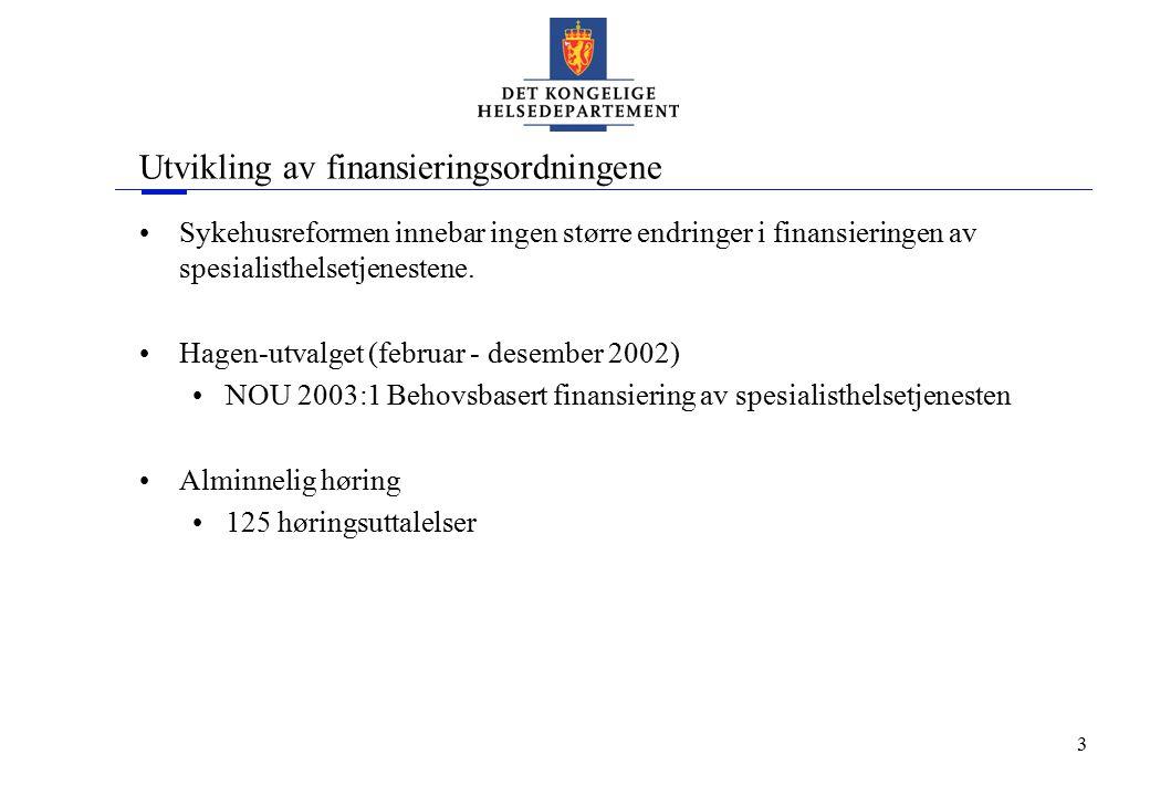 3 Utvikling av finansieringsordningene Sykehusreformen innebar ingen større endringer i finansieringen av spesialisthelsetjenestene. Hagen-utvalget (f