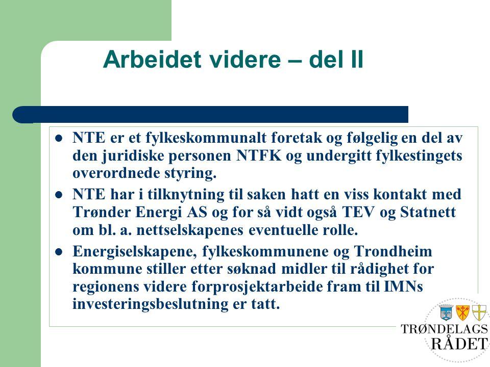 Arbeidet videre – del II NTE er et fylkeskommunalt foretak og følgelig en del av den juridiske personen NTFK og undergitt fylkestingets overordnede st