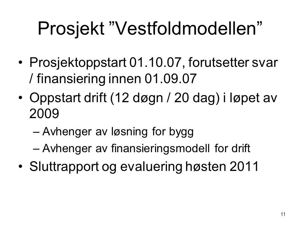 Prosjekt Vestfoldmodellen Prosjektoppstart 01.10.07, forutsetter svar / finansiering innen 01.09.07 Oppstart drift (12 døgn / 20 dag) i løpet av 2009 –Avhenger av løsning for bygg –Avhenger av finansieringsmodell for drift Sluttrapport og evaluering høsten 2011 11