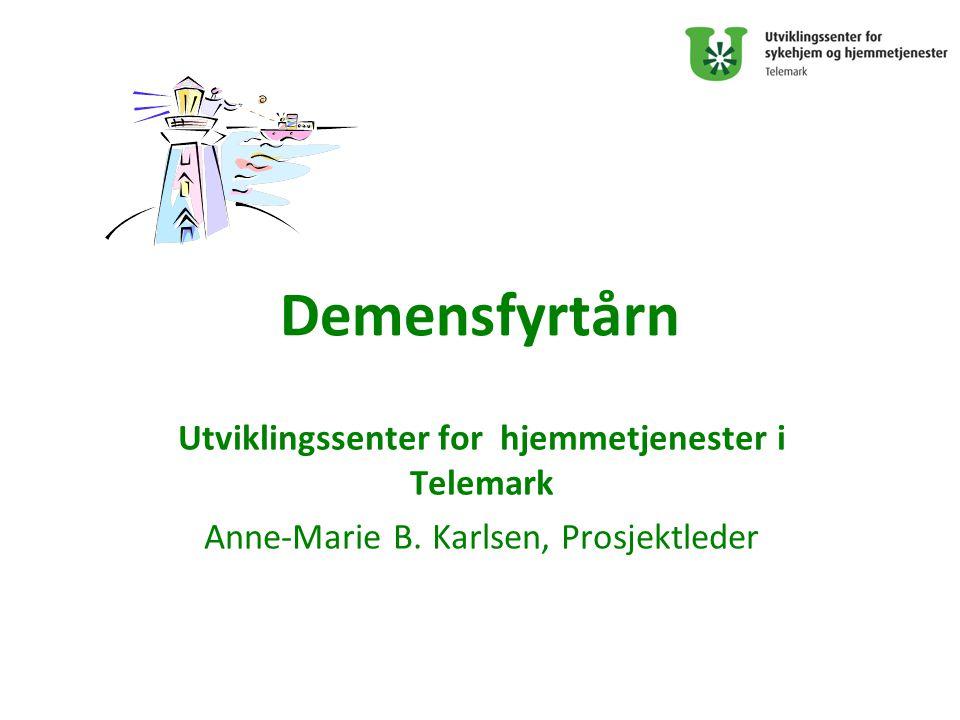 Demensfyrtårn Utviklingssenter for hjemmetjenester i Telemark Anne-Marie B. Karlsen, Prosjektleder