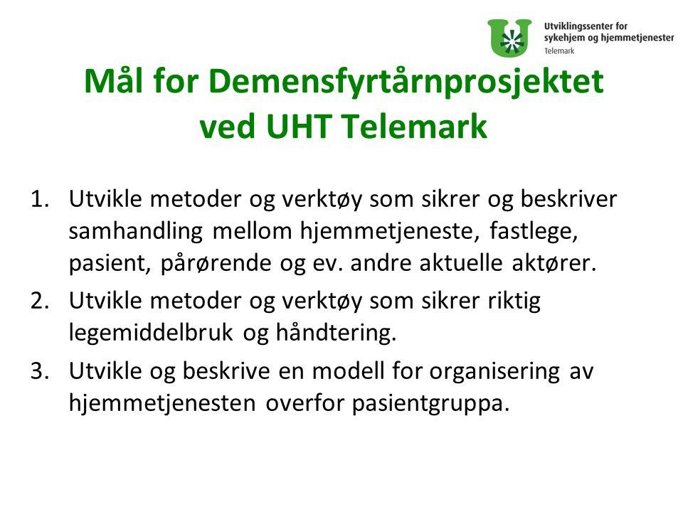 Mål for Demensfyrtårnprosjektet ved UHT Telemark 1.Utvikle metoder og verktøy som sikrer og beskriver samhandling mellom hjemmetjeneste, fastlege, pasient, pårørende og ev.
