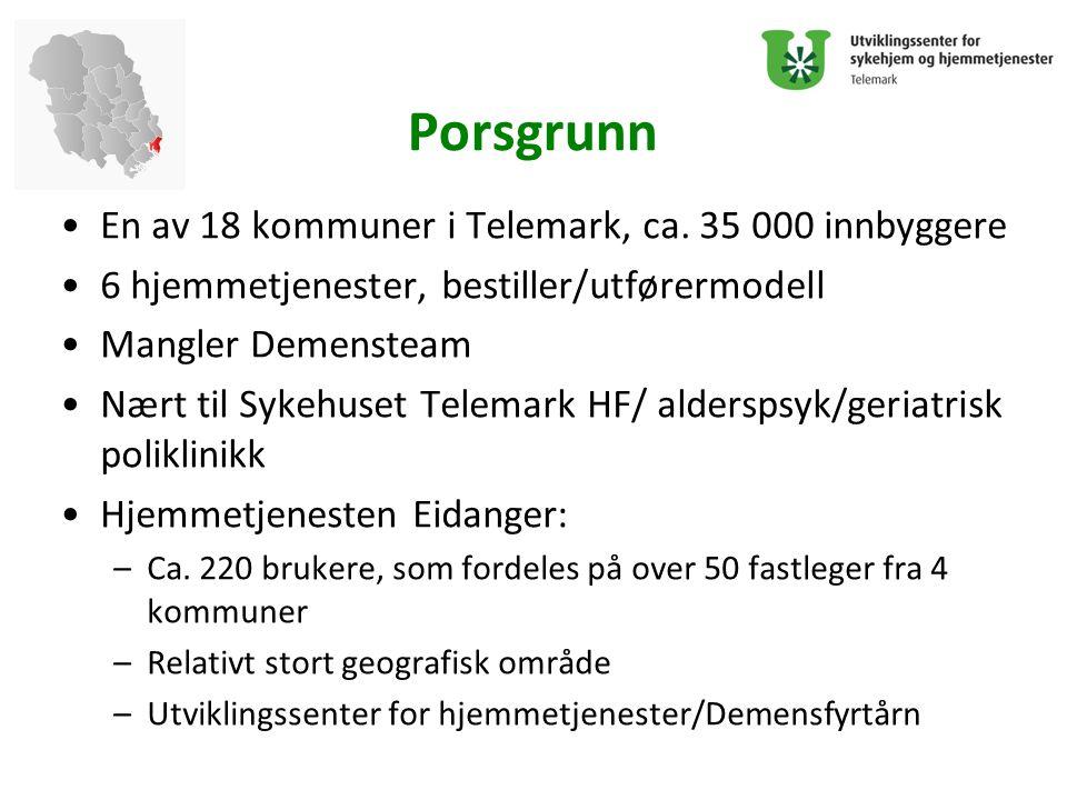Porsgrunn En av 18 kommuner i Telemark, ca. 35 000 innbyggere 6 hjemmetjenester, bestiller/utførermodell Mangler Demensteam Nært til Sykehuset Telemar