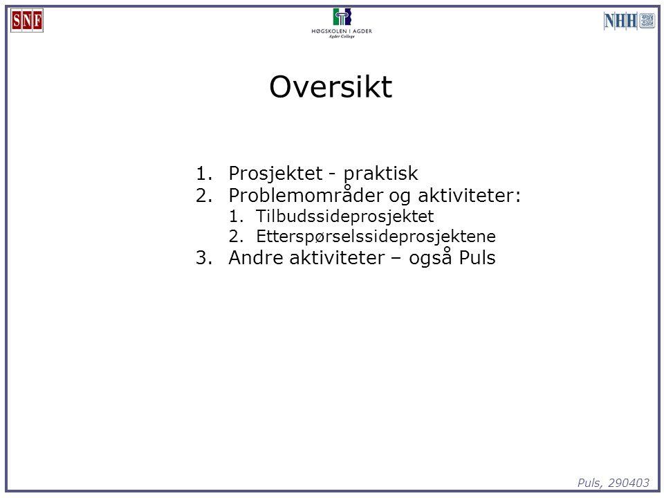 Puls, 290403 Oversikt 1.Prosjektet - praktisk 2.Problemområder og aktiviteter: 1.Tilbudssideprosjektet 2.Etterspørselssideprosjektene 3.Andre aktivite