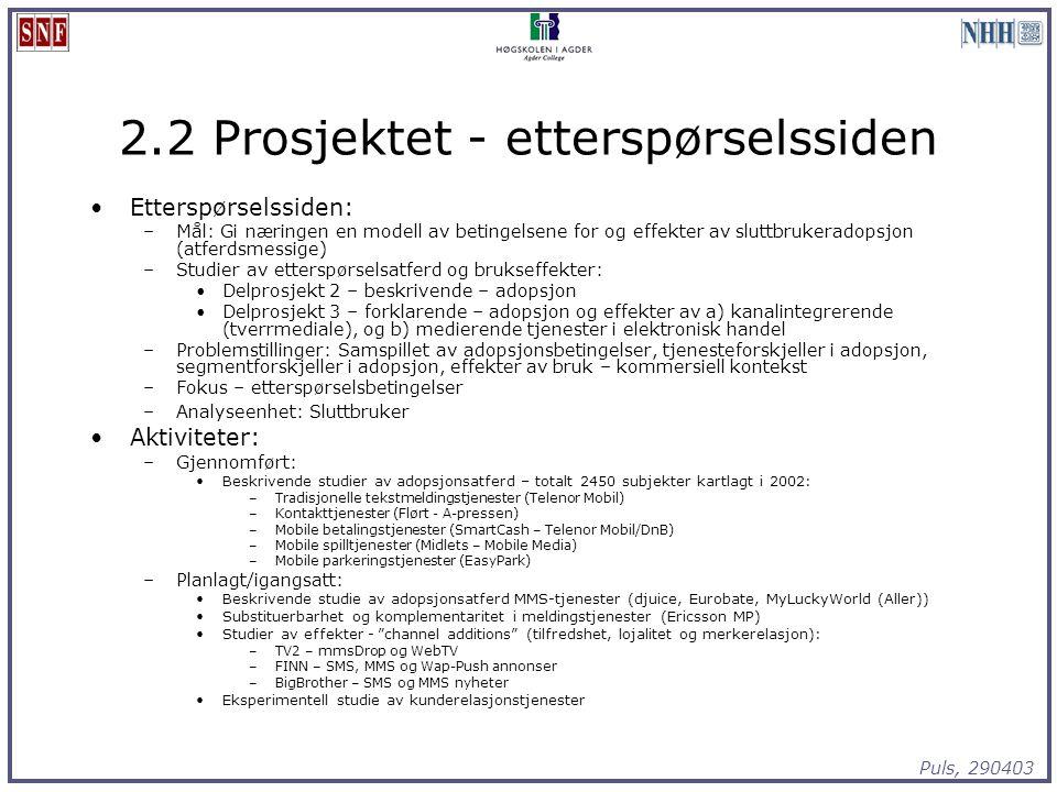 Puls, 290403 2.2 Prosjektet - etterspørselssiden Etterspørselssiden: –Mål: Gi næringen en modell av betingelsene for og effekter av sluttbrukeradopsjo