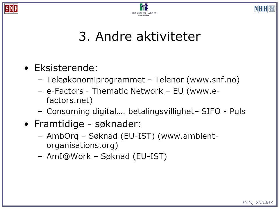 Puls, 290403 3. Andre aktiviteter Eksisterende: –Teleøkonomiprogrammet – Telenor (www.snf.no) –e-Factors - Thematic Network – EU (www.e- factors.net)
