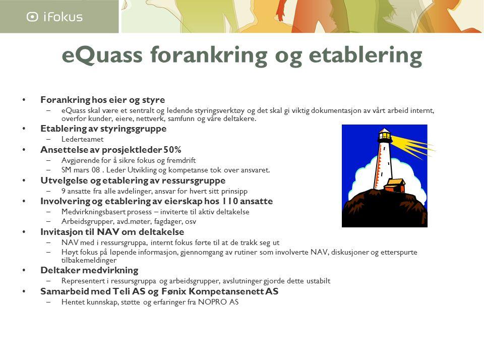 eQuass forankring og etablering Forankring hos eier og styre –eQuass skal være et sentralt og ledende styringsverktøy og det skal gi viktig dokumentasjon av vårt arbeid internt, overfor kunder, eiere, nettverk, samfunn og våre deltakere.