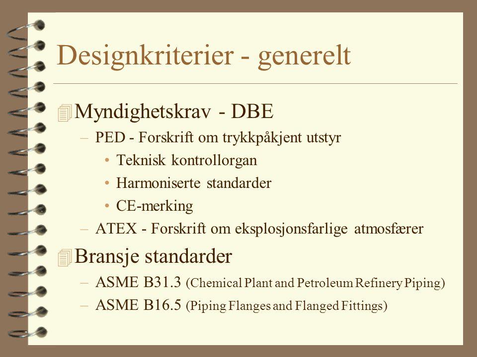 Designkriterier - generelt 4 Myndighetskrav - DBE –PED - Forskrift om trykkpåkjent utstyr Teknisk kontrollorgan Harmoniserte standarder CE-merking –AT