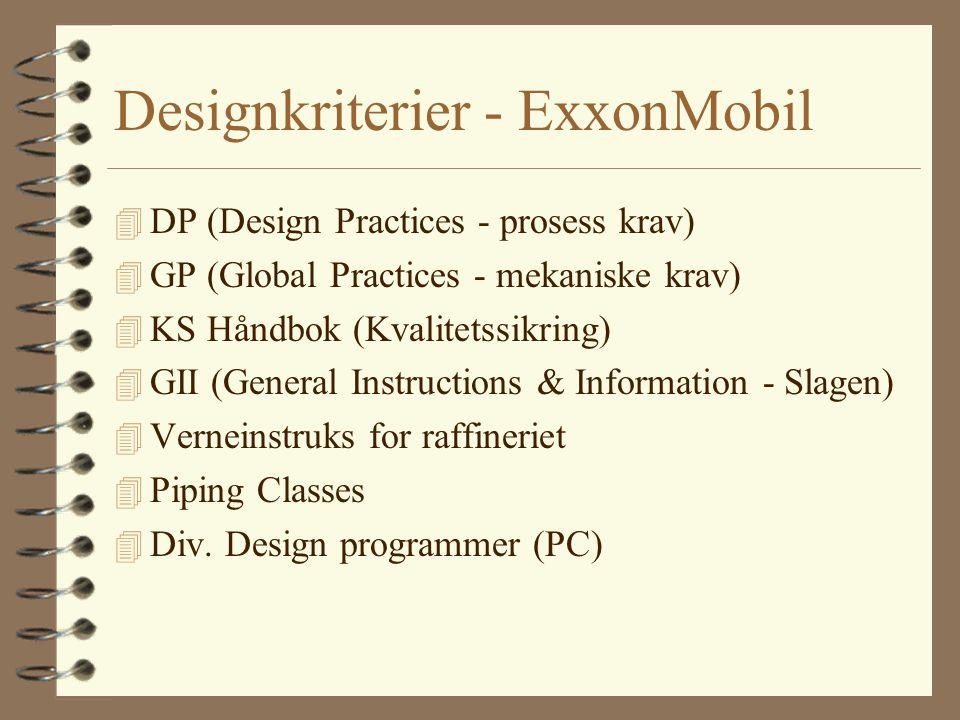 Designkriterier - ExxonMobil 4 DP (Design Practices - prosess krav) 4 GP (Global Practices - mekaniske krav) 4 KS Håndbok (Kvalitetssikring) 4 GII (Ge