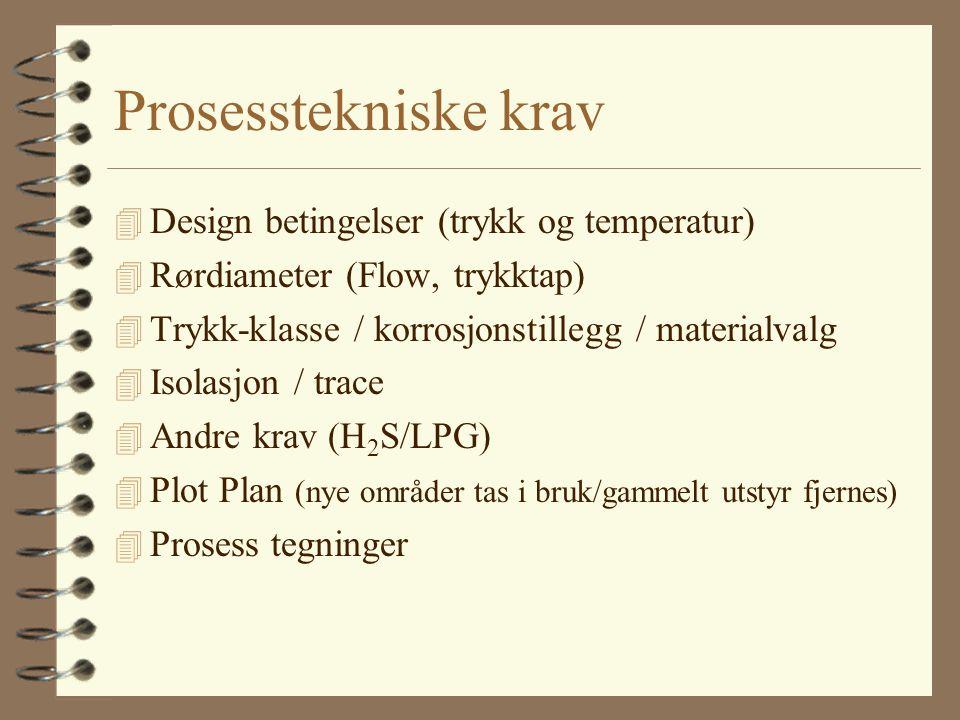 Prosesstekniske krav 4 Design betingelser (trykk og temperatur) 4 Rørdiameter (Flow, trykktap) 4 Trykk-klasse / korrosjonstillegg / materialvalg 4 Iso