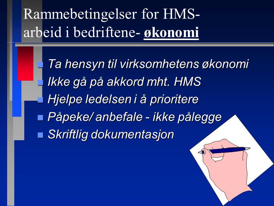 Rammebetingelser for HMS- arbeid i bedriftene- ressurser.