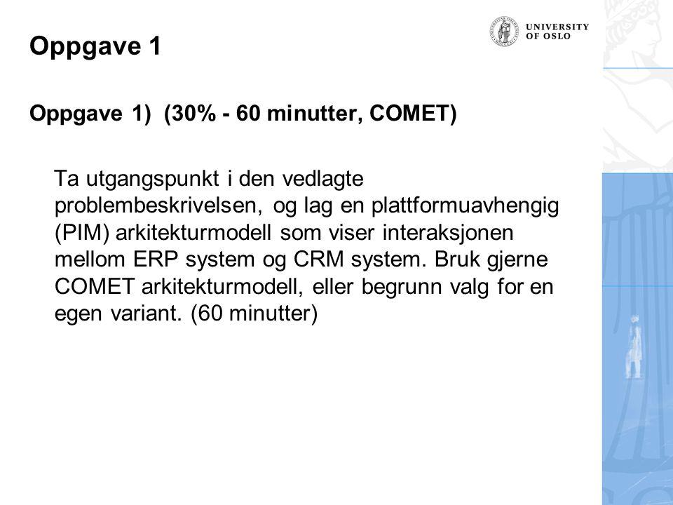 Oppgave 1 Oppgave 1) (30% - 60 minutter, COMET) Ta utgangspunkt i den vedlagte problembeskrivelsen, og lag en plattformuavhengig (PIM) arkitekturmodel