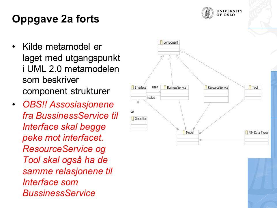 Oppgave 2a forts Kilde metamodel er laget med utgangspunkt i UML 2.0 metamodelen som beskriver component strukturer OBS!! Assosiasjonene fra Bussiness