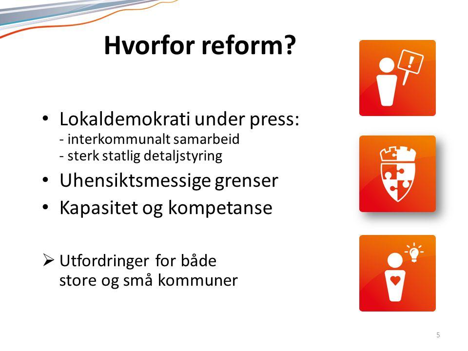 Norsk mal: Tekst med kulepunkter - 1 vertikalt bilde Tips bilde: For best oppløsning anbefales jpg og png-format. Hvorfor reform? Lokaldemokrati under