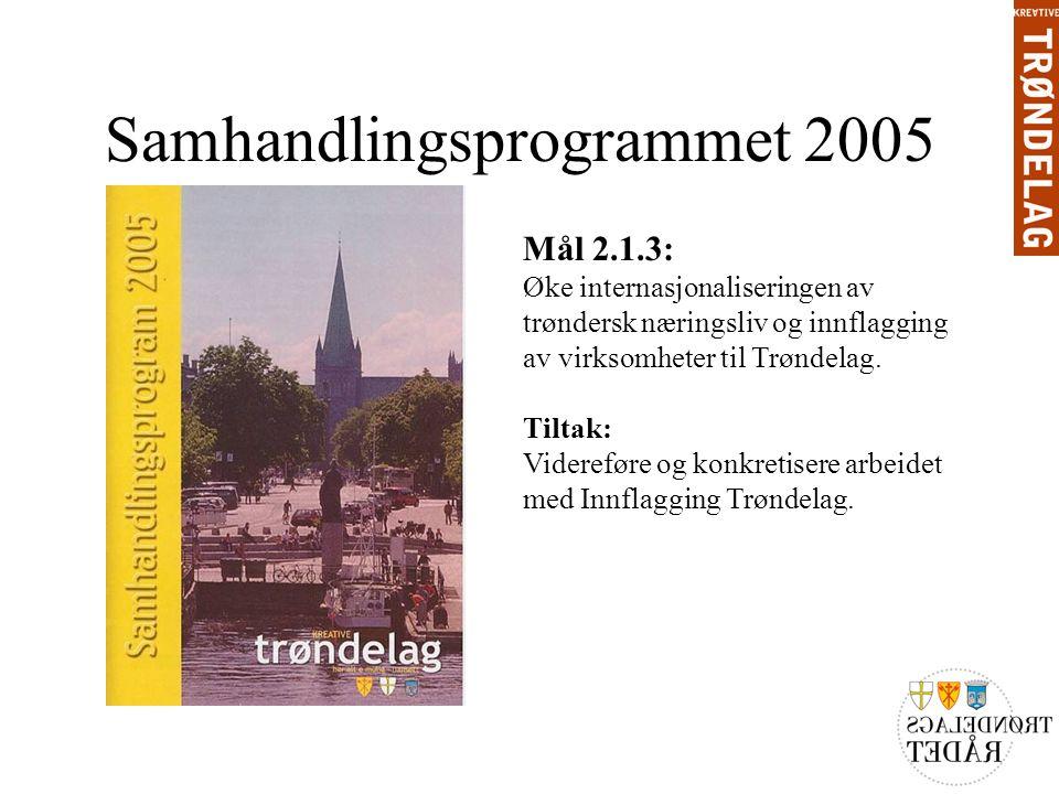 Samhandlingsprogrammet 2005 Mål 2.1.3: Øke internasjonaliseringen av trøndersk næringsliv og innflagging av virksomheter til Trøndelag.
