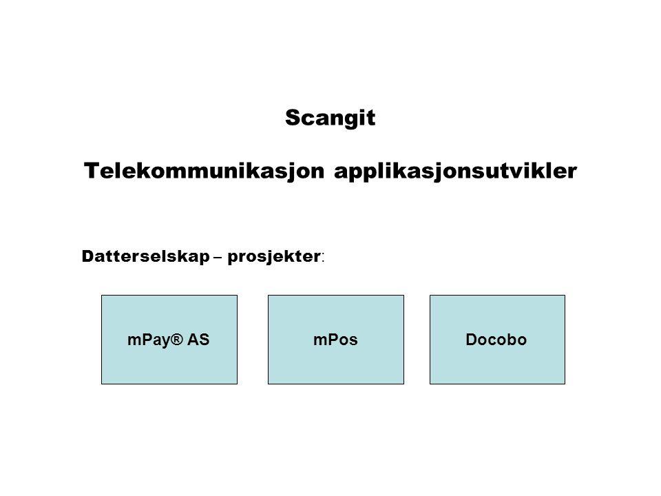 Scangit Telekommunikasjon applikasjonsutvikler mPay® ASmPosDocobo Datterselskap – prosjekter :