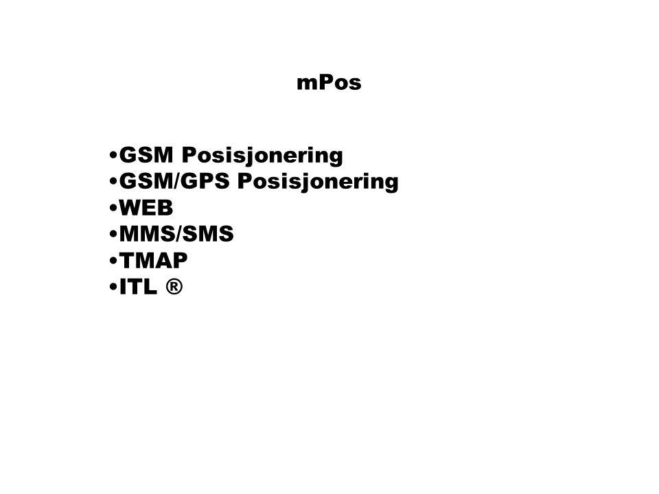 mPos GSM Posisjonering GSM/GPS Posisjonering WEB MMS/SMS TMAP ITL ®