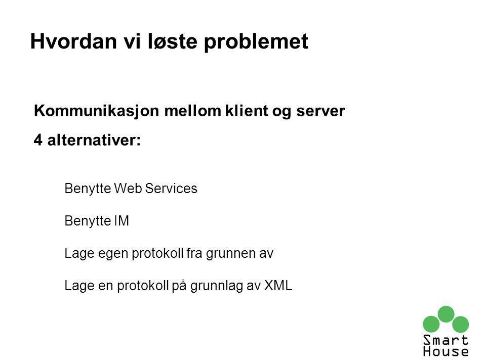 Kommunikasjon mellom klient og server 4 alternativer: Benytte Web Services Benytte IM Lage egen protokoll fra grunnen av Lage en protokoll på grunnlag av XML Hvordan vi løste problemet