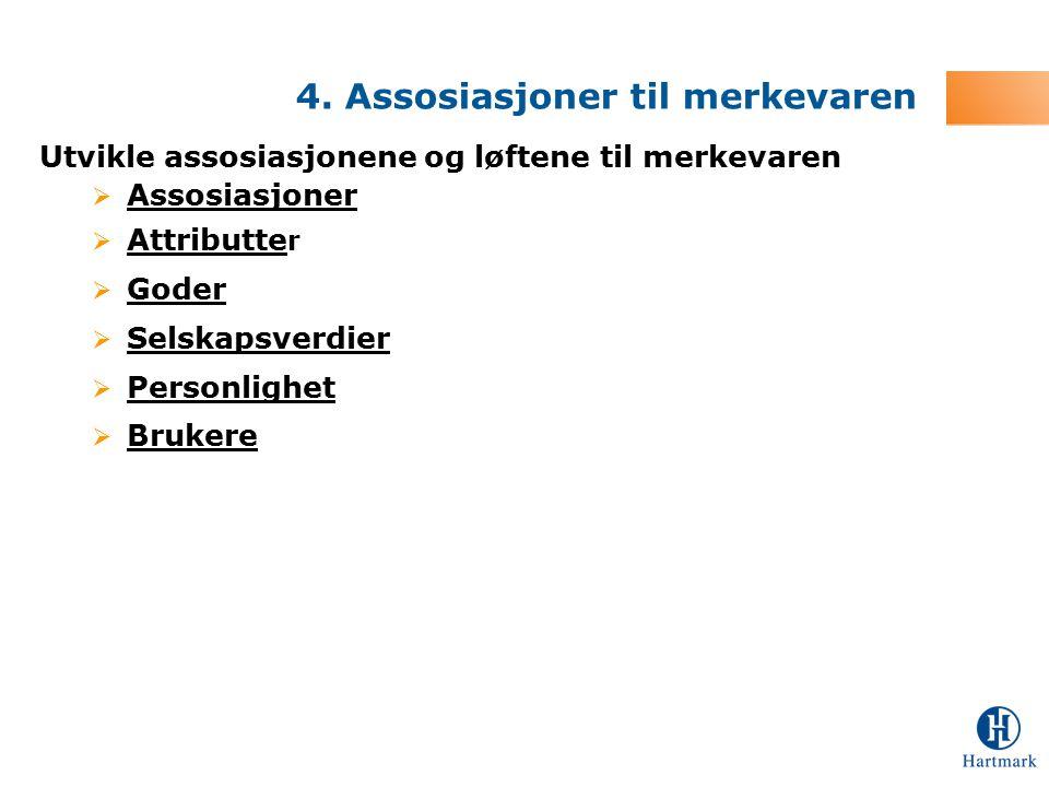 Utvikle assosiasjonene og løftene til merkevaren  Assosiasjoner  Attributte r  Goder  Selskapsverdier  Personlighet  Brukere 4. Assosiasjoner ti
