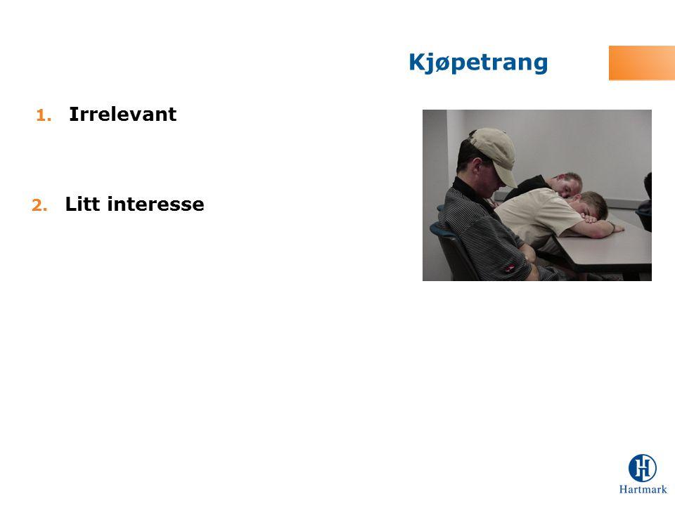 1. Irrelevant Kjøpetrang 2. Litt interesse