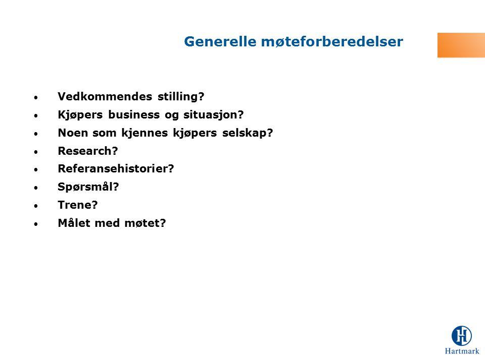 Vedkommendes stilling? Kjøpers business og situasjon? Noen som kjennes kjøpers selskap? Research? Referansehistorier? Spørsmål? Trene? Målet med møtet