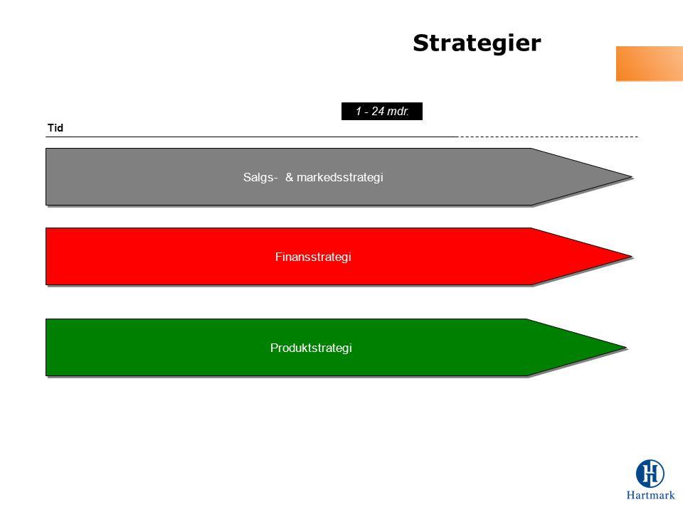 Strategier Salgs- & markedsstrategi Tid 1 - 24 mdr. Finansstrategi Produktstrategi