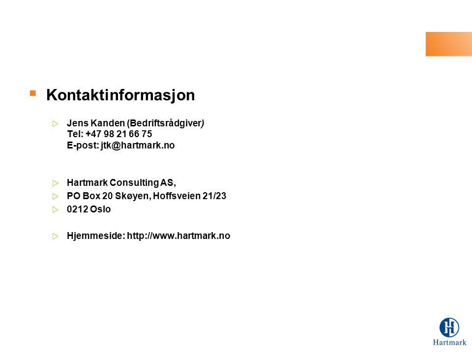  Kontaktinformasjon  Jens Kanden (Bedriftsrådgiver) Tel: +47 98 21 66 75 E-post: jtk@hartmark.no  Hartmark Consulting AS,  PO Box 20 Skøyen, Hoffs