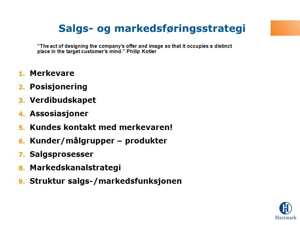 1. Merkevare 2. Posisjonering 3. Verdibudskapet 4. Assosiasjoner 5. Kundes kontakt med merkevaren! 6. Kunder/målgrupper – produkter 7. Salgsprosesser