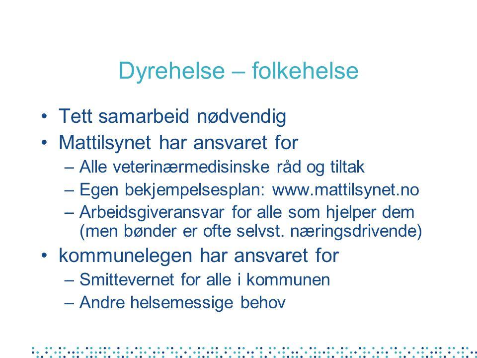 Dyrehelse – folkehelse Tett samarbeid nødvendig Mattilsynet har ansvaret for –Alle veterinærmedisinske råd og tiltak –Egen bekjempelsesplan: www.matti