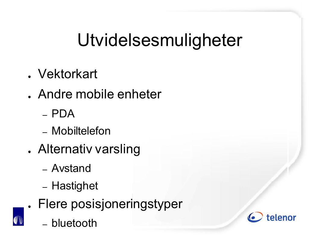 Utvidelsesmuligheter ● Vektorkart ● Andre mobile enheter – PDA – Mobiltelefon ● Alternativ varsling – Avstand – Hastighet ● Flere posisjoneringstyper – bluetooth