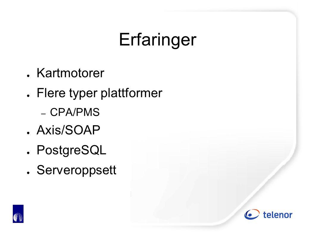 Erfaringer ● Kartmotorer ● Flere typer plattformer – CPA/PMS ● Axis/SOAP ● PostgreSQL ● Serveroppsett