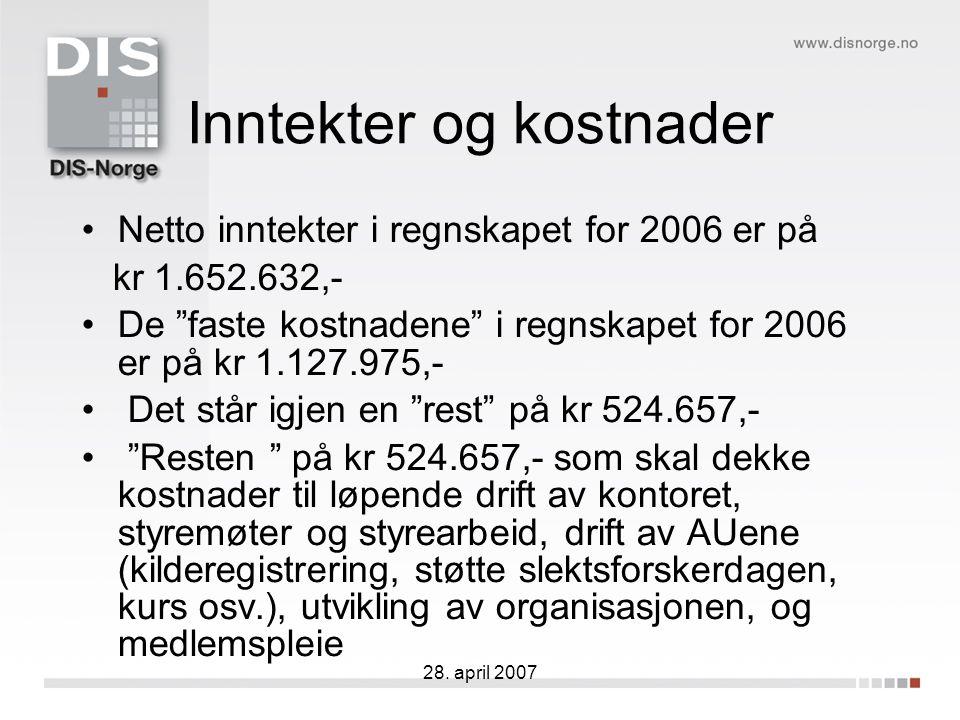 """28. april 2007 Inntekter og kostnader Netto inntekter i regnskapet for 2006 er på kr 1.652.632,- De """"faste kostnadene"""" i regnskapet for 2006 er på kr"""