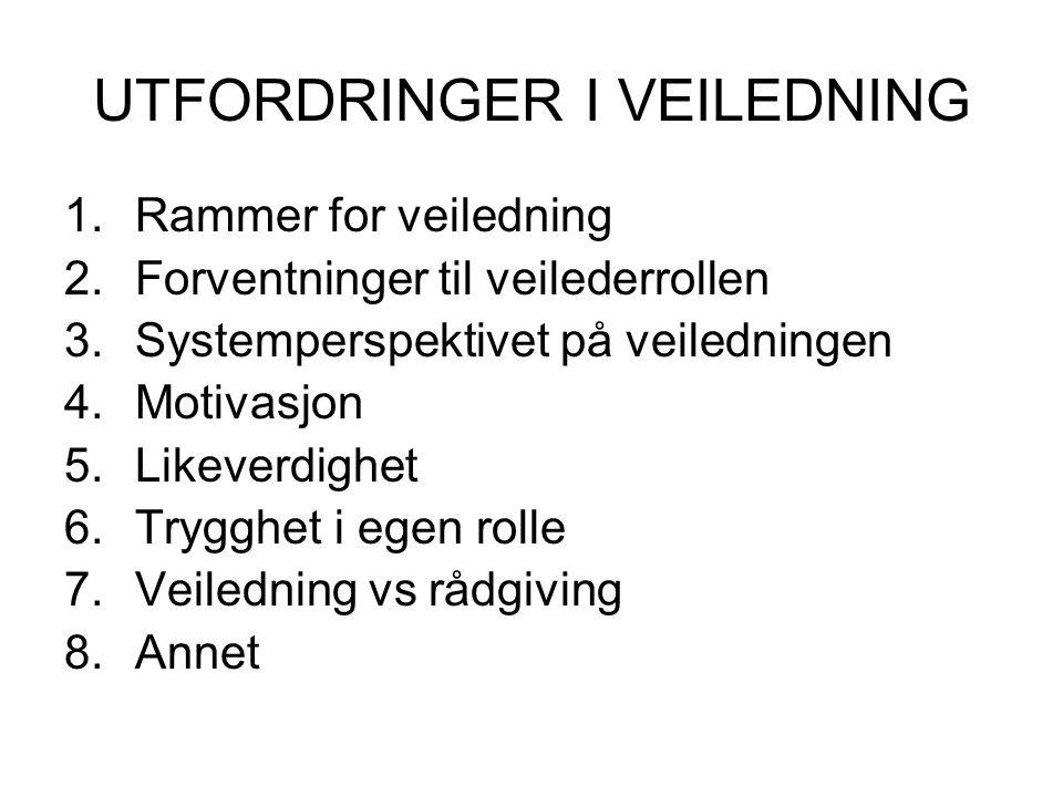 UTFORDRINGER I VEILEDNING 1.Rammer for veiledning 2.Forventninger til veilederrollen 3.Systemperspektivet på veiledningen 4.Motivasjon 5.Likeverdighet