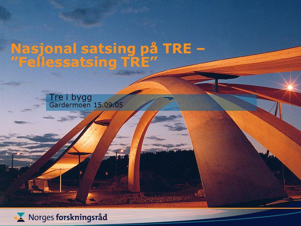 Nasjonal satsing på TRE: men….Forskning i samarbeid med EU blir stadig viktigere Skog og tre får økt fokus i 7RP Bedrifter og FoU miljø skal stimuleres økonomisk til å delta.
