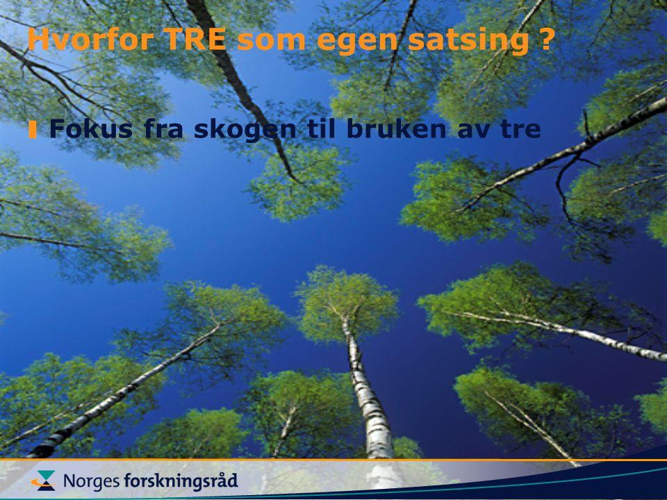 Fokus fra skogen til bruken av tre Hvorfor TRE som egen satsing ?