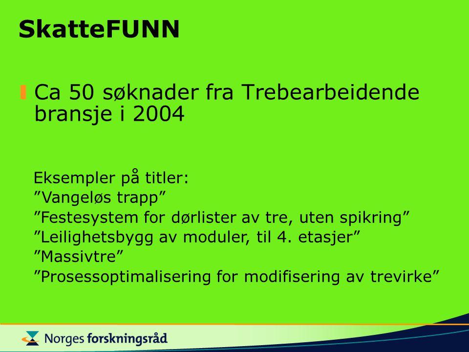 SkatteFUNN Ca 50 søknader fra Trebearbeidende bransje i 2004 Eksempler på titler: Vangeløs trapp Festesystem for dørlister av tre, uten spikring Leilighetsbygg av moduler, til 4.